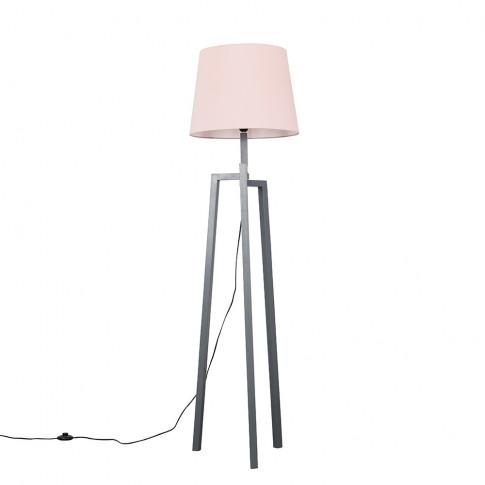 Augustus Grey Wood Tripod Floor Lamp With Xl Blush P...