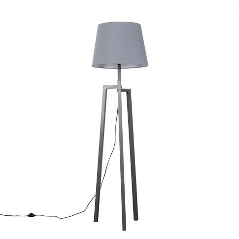 Augustus Grey Wood Tripod Floor Lamp With Xl Grey As...