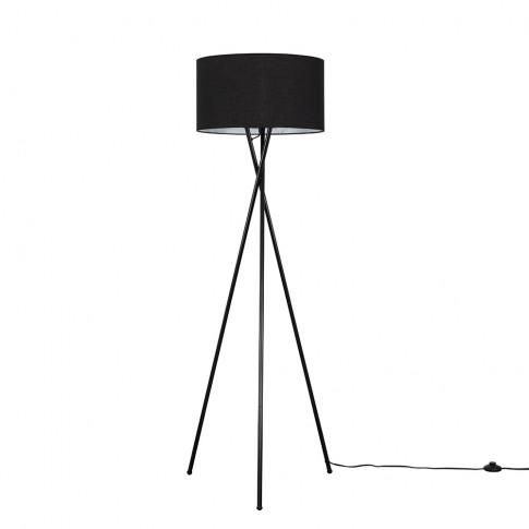 Camden Black Tripod Floor Lamp With Xl Black Reni Shade