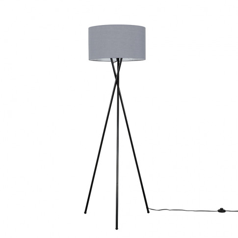 Camden Black Tripod Floor Lamp With Xl Dark Grey Ren...