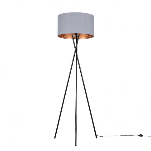 Camden Black Tripod Floor Lamp With Xl Grey And Copp...