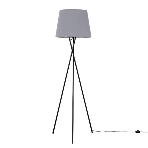 Camden Black Tripod Floor Lamp With Xl Grey Aspen Shade