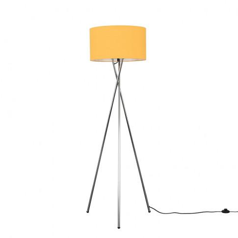 Camden Chrome Tripod Floor Lamp With Xl Mustard Reni...