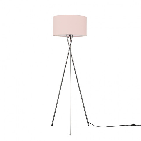 Camden Chrome Tripod Floor Lamp With Xl Dusty Pink R...