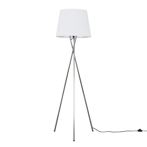 Camden Chrome Tripod Floor Lamp With Xl White Aspen ...
