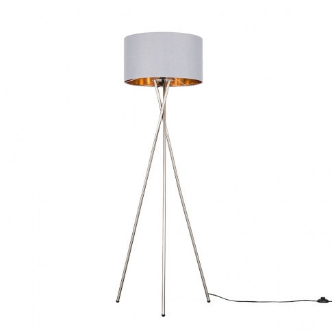 Camden Brushed Chrome Tripod Floor Lamp With Xl Fawn And Gold Reni Sha