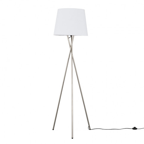 Camden Brushed Chrome Tripod Floor Lamp With Xl White Aspen Shade
