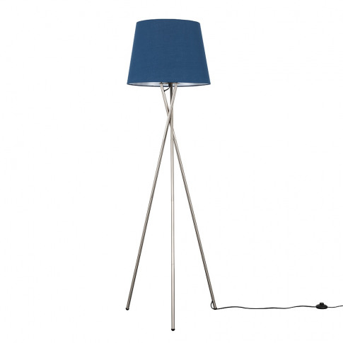 Camden Brushed Chrome Tripod Floor Lamp With Xl Navy...
