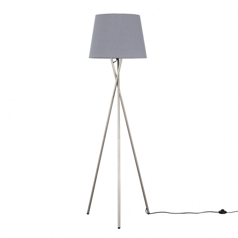 Camden Brushed Chrome Tripod Floor Lamp With Xl Grey...