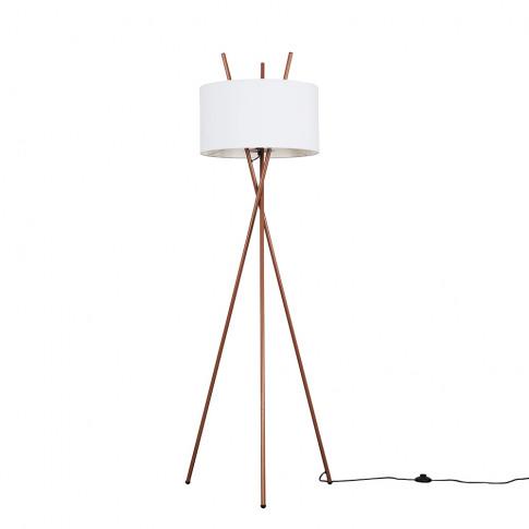 Crawford Copper Tripod Floor Lamp With Xl White Reni...