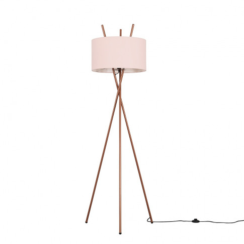 Crawford Copper Tripod Floor Lamp With Xl Dusty Pink Reni Shade