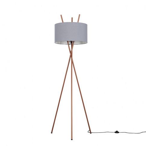 Crawford Copper Tripod Floor Lamp With Xl Dark Grey ...