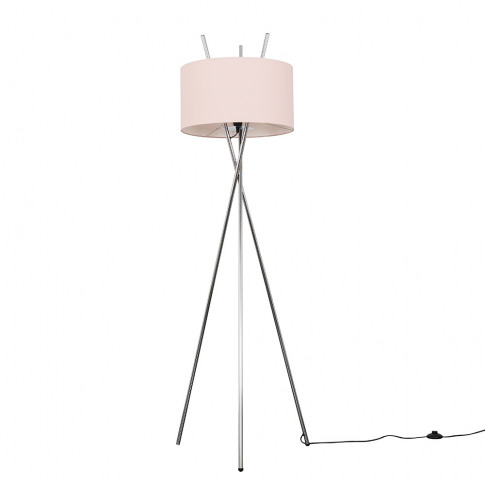 Crawford Chrome Tripod Floor Lamp With Xl Dusty Pink...