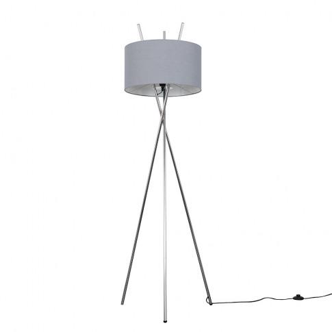 Crawford Chrome Tripod Floor Lamp With Xl Dark Grey ...
