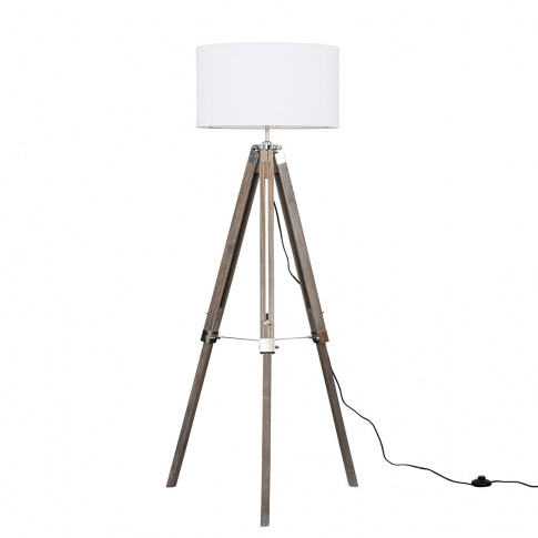 Clipper Light Wood And Chrome Floor Lamp With Xl Whi...