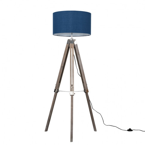 Clipper Light Wood And Chrome Floor Lamp With Xl Nav...