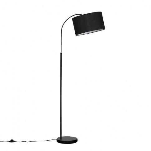 Curva Floor Lamp In Black With Large Black Reni Shade