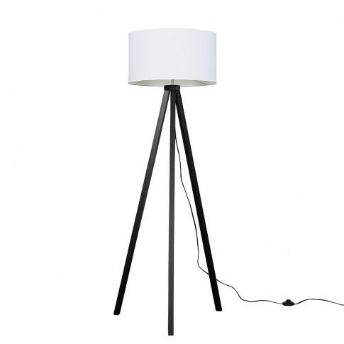 Barbro Dark Wood Tripod Floor Lamp With Xl White Ren...