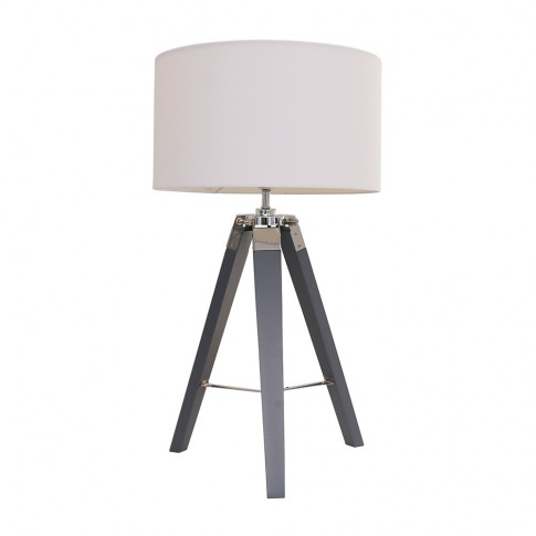 Clipper Grey Wood And Chrome Table Lamp With Large W...