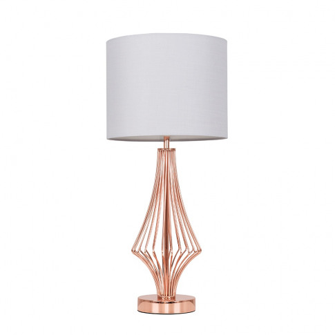 Jaspa Copper Table Lamp With Cool Grey Reni Shade