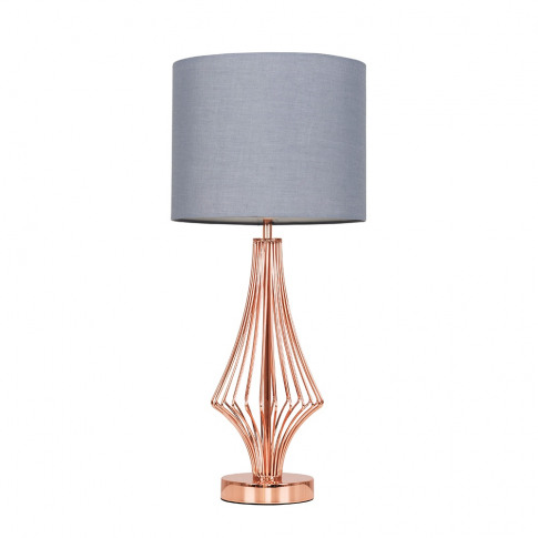 Jaspa Copper Table Lamp With Dark Grey Reni Shade