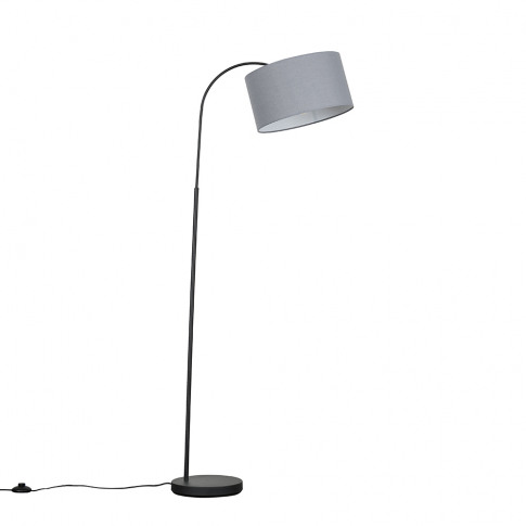 Curva Dark Grey Floor Lamp With Large Dark Grey Reni...