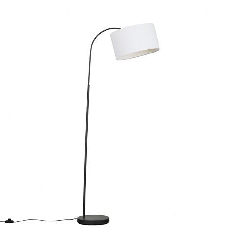 Curva Dark Grey Floor Lamp With Large White Reni Shade