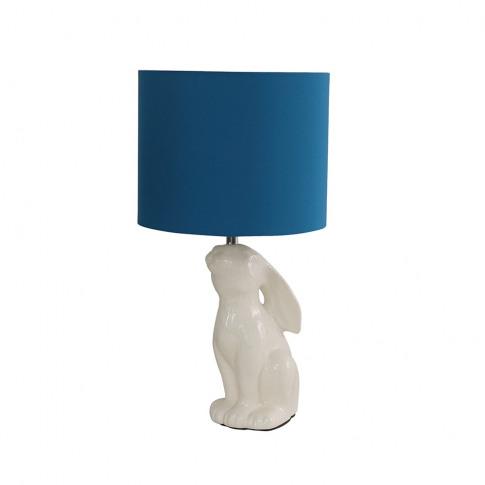 Rabbit Cream Ceramic Table Lamp With French Blue Reni Shade