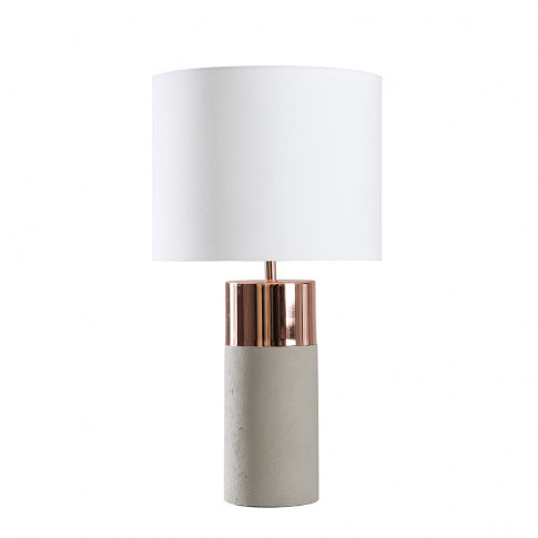 Finley Cement And Copper Table Lamp With White Reni ...