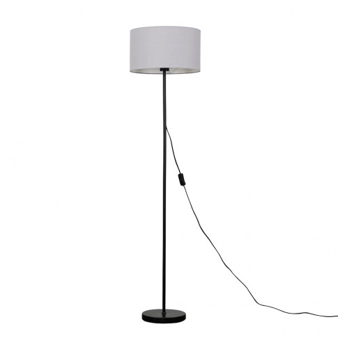Charlie Black Floor Lamp With Large Cool Grey Shade