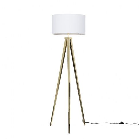 Nero Gold Tripod Floor Lamp With Xl White Reni Shade