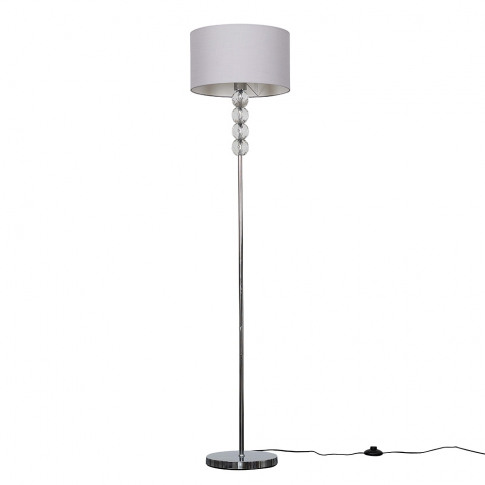 Eleanor Chrome Floor Lamp With Large Cool Grey Reni ...