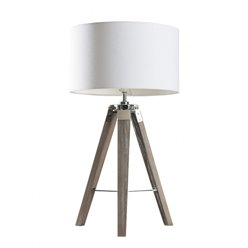 Clipper Light Wood Table Lamp With Large White Reni ...