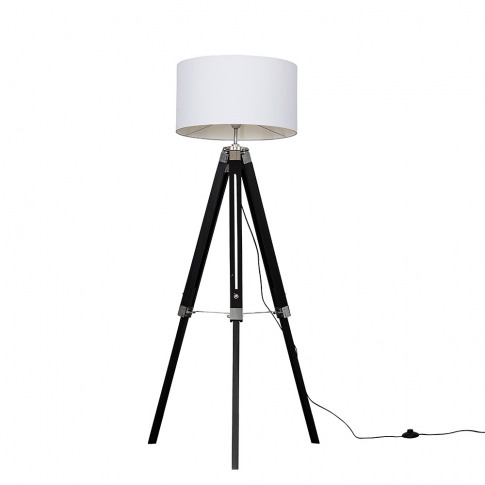 Clipper Black Wood Floor Lamp With Xl White Reni Shade
