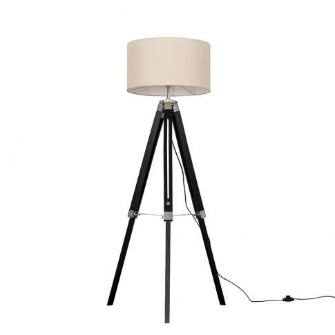 Clipper Black Wood Floor Lamp With Xl Mink Reni Shade