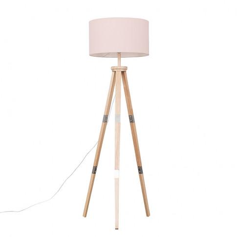 Willow Light Wood Tripod Floor Lamp With Xl Pink Ren...