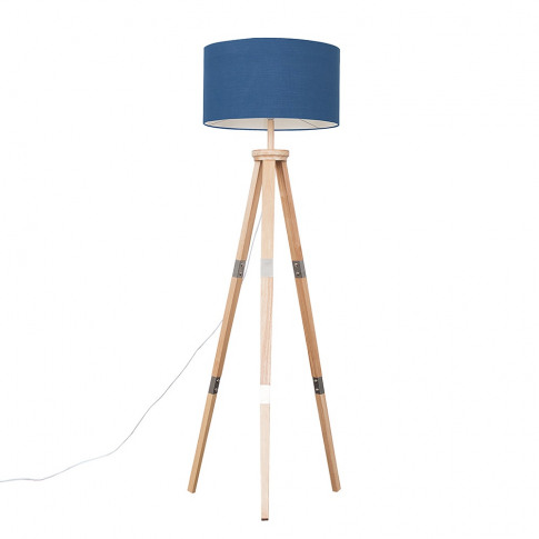 Willow Light Wood Tripod Floor Lamp With Xl Navy Blu...