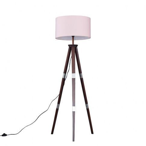 Willow Dark Wood Tripod Floor Lamp With Xl Pink Reni...