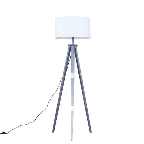 Willow Grey Tripod Floor Lamp With Xl White Reni Shade