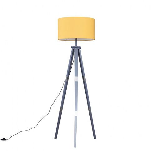 Willow Grey Tripod Floor Lamp With Xl Mustard Reni S...