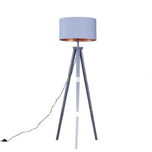 Willow Grey Tripod Floor Lamp With Xl Grey And Coppe...