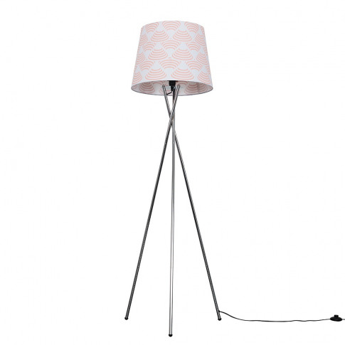 Camden Chrome Tripod Floor Lamp With Xl Peach And Wh...