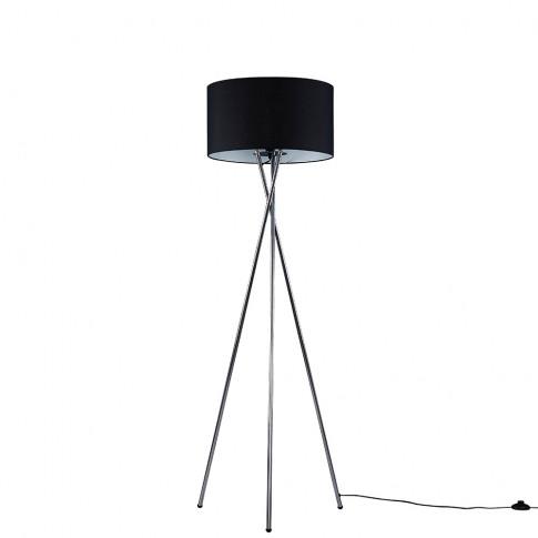 Camden Brushed Chrome Tripod Floor Lamp With Xl Black Reni Shade