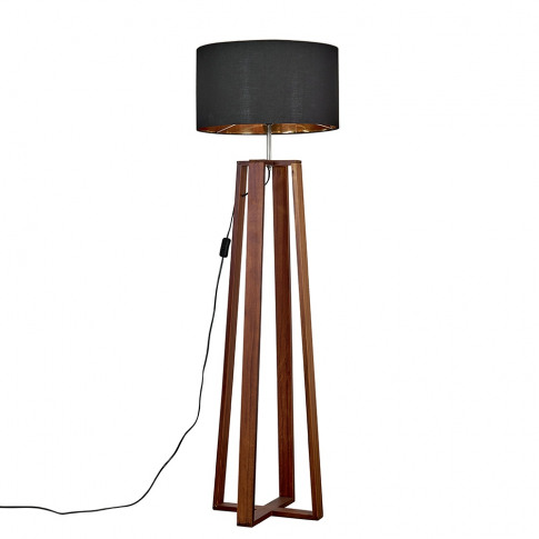 Beltane Dark Wood Floor Lamp With Xl Black And Gold ...
