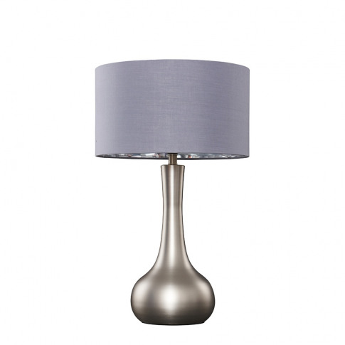Laurin Large Brushed Chrome Table Lamp With Grey And Chrome Reni Shade