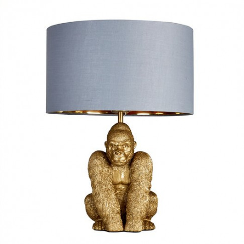 King Gorilla Table Lamp In Gold With Grey And Gold R...