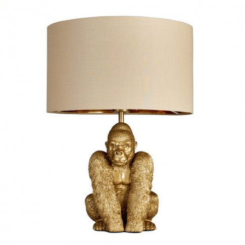 King Gorilla Table Lamp In Gold With Beige And Gold ...