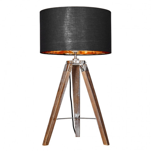 Clipper Light Wood Table Lamp With Large Black And G...