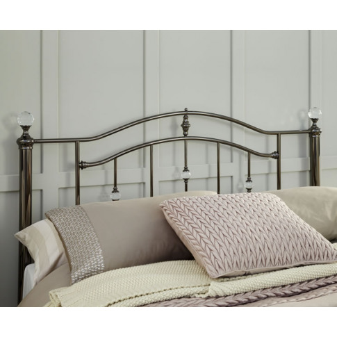 Ashley Black Nickel Metal Headboard Small Double Siz...
