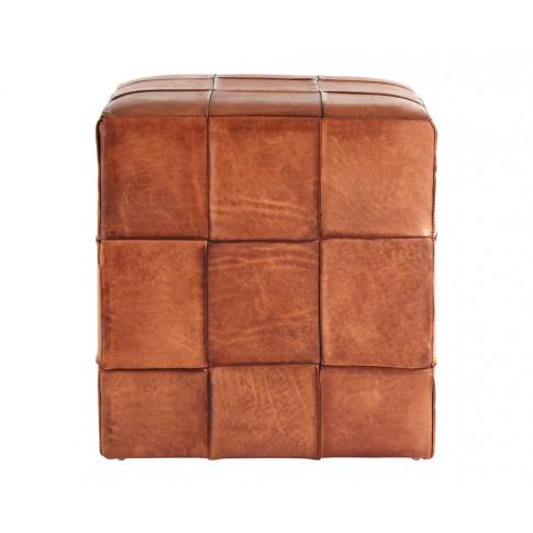 Bekan Square Genuine Brown Leather Stool